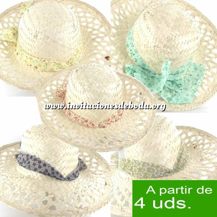 Imagen Detalles para la ceremonia Sombrero - Pamela de Ala Larga Calada con cinta colores surtidos Ref. 47975