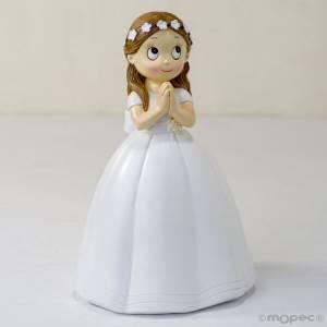 Figuras de Comunión - Figura Pastel comunion niña con vestido largo y corona de flores