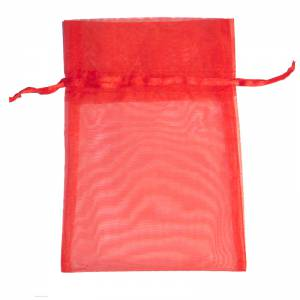 Imagen Tamaño 07x09 cms Bolsa de organza Roja 7x9 - capacidad 7x7.5 cms.