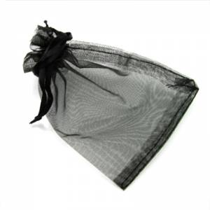 Imagen Tamaño 08x28 cms. Bolsa de organza Negra 8x28 capacidad 8x25 cms.